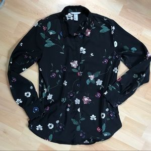 Black Blouse With Flower Print Loose Fit